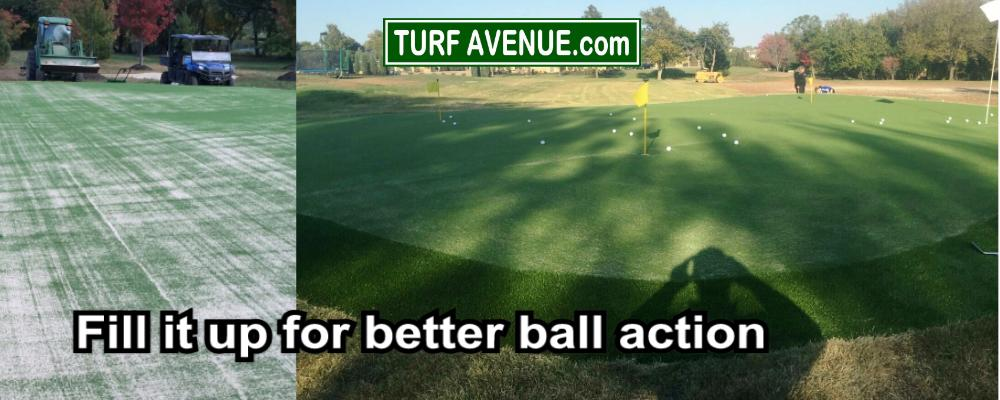 infilling backyard putting green with sand will help ball impact